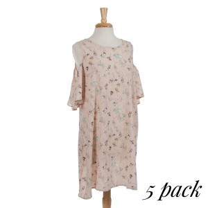 Blush pink cold shoulder dress with a floral pattern. 100% rayon. Sold in packs of five - two smalls, two mediums, one large.