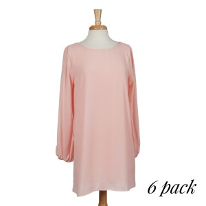 Blush long sleeve knee-length dress. Bodice is fully lined, sleeves are unlined. 100% polyester. Sold in packs of six - two smalls, two mediums, and two larges.