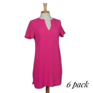 Hot pink short sleeve knee-length dress with a v-neckline and a scoop bottom hem. 95% polyester and 5% spandex. Sold in packs of six - two smalls, two mediums, and two larges.