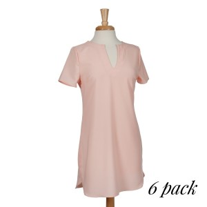 Blush pink short sleeve knee-length dress with a v-neckline and a scoop bottom hem. 95% polyester and 5% spandex. Sold in packs of six - two smalls, two mediums, and two larges.