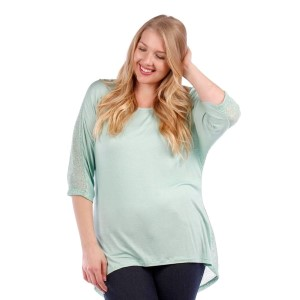 Mint green top with 3/4 length sleeves and a knit back. 95% rayon and 5% spandex. Sold in packs of six - two 1X, two 2X, two 3X.
