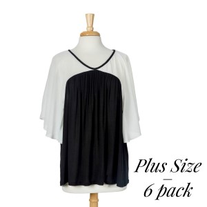 Black knit top with ivory flutter sleeves. 87% polyester, 10% rayon, and 3% spandex. Sold in packs of six - two 1X, two 2X, and two 3X.