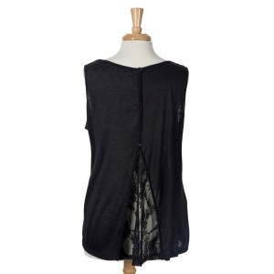 Black sleeveless tank top with lace and button details on the back. 100% rayon. Sold in packs of six - two 1X, two 2X, and two 3X.