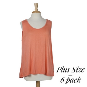 Coral sleeveless tank top with lace and button details on the back. 100% rayon. Sold in packs of six - two 1X, two 2X, and two 3X.
