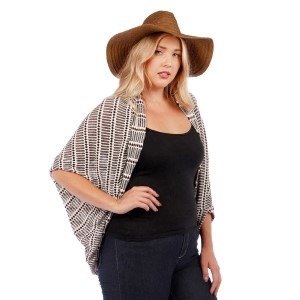 Black and beige knit kimono. 53% rayon, 43, polyester, and 4% spandex. Sold in packs of six - two 1X, two 2X, and two 3X.