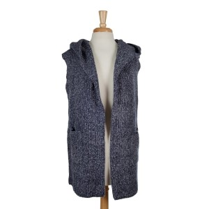 Navy blue and gray hooded vest. 90% acrylic and 10% wool. One size fits most.
