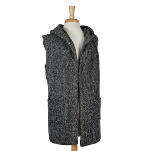Black and gray hooded vest. 90% acrylic and 10% wool. One size fits most.
