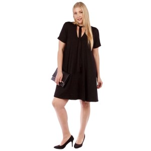 Black short sleeve, plus size flowy dress with a tie front. 95% rayon and 5% spandex. Sold in packs of six - two 1X, two 2X, and two two 3X.