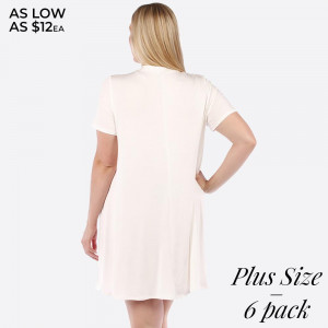White short sleeve, plus size flowy dress with a tie front. 95% rayon and 5% spandex. Sold in packs of six - two 1X, two 2X, and two two 3X.