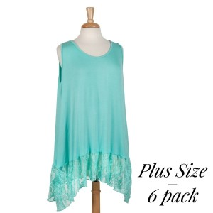 Mint green plus size tank top with a lace bottom hem. 95% rayon and 5% spandex. Sold in packs of six - two 1X, two 2X, and two 3X.