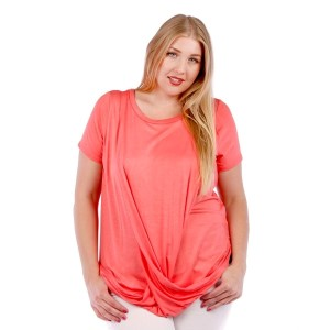 Coral short sleeve plus size top with a twist front and a scoop bottom hem. 95% rayon and 5% spandex. Sold in packs of six - two 1X, two 2X, and two two 3X.