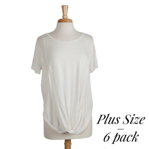 Off white short sleeve plus size top with a twist front and a scoop bottom hem. 95% rayon and 5% spandex. Sold in packs of six - two 1X, two 2X, and two two 3X.