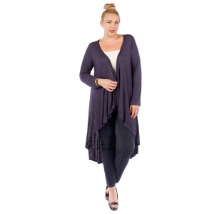 Navy blue long sleeve plus size cardigan with a tapered front. 95% rayon and 5% spandex. Sold in packs of six - two 1X, two 2X, and two two 3X.