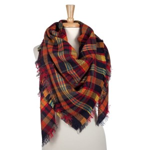 Navy, red and yellow plaid blanket scarf. 100% acrylic.