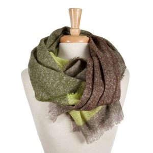 Olive, green and brown color block open scarf with frayed edges. 100% acrylic.