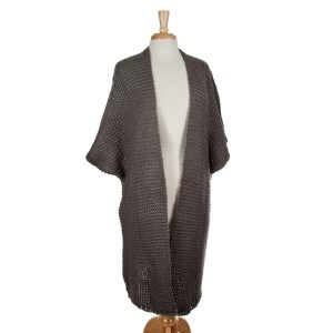 Charcoal gray knit duster with short sleeves and a loose fit. 100% acrylic. One size fits most.