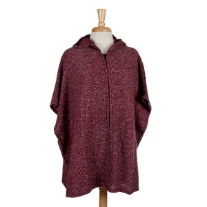 Burgundy full zip, hooded poncho with short sleeves. 53% polyester, 23% acrylic, 15% cotton, 7.5% wool, 1.5% spandex. One size fits most.