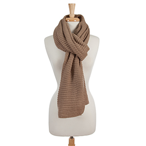Taupe, ribbed open scarf. 100% acrylic.