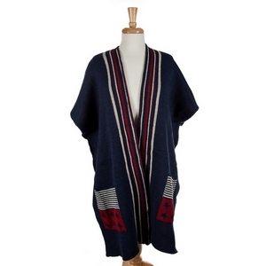 Navy knit kimono with white and red stripes and American flag pockets. 100% acrylic. One size fits most.