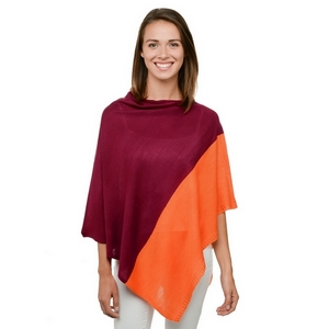 Maroon and orange poncho, perfect for game day. 100% acrylic. One size fits most.