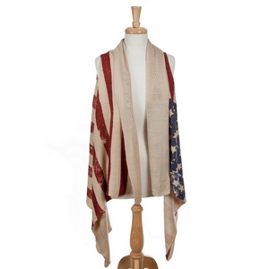 Ivory lightweight vest with an American flag print. 100% acrylic. One size fits most.