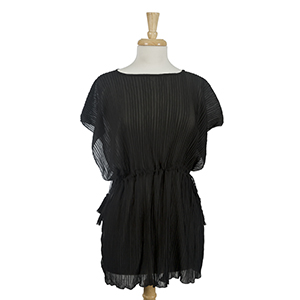 Black, accordion pleated poncho top with tie sides. 100% polyester. One size fits most.
