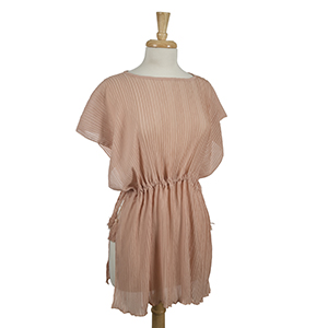 Mauve, accordion pleated poncho top with tie sides. 100% polyester. One size fits most.