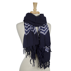 "Navy blue and white tie-dye scarf. 100% viscose. Approximately 42"" x 72."""