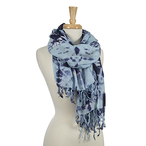 "Navy blue and light blue tie-dye scarf. 100% viscose. Approximately 42"" x 72."""