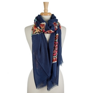 "Navy blue open scarf with yellow and red flowers. 100% polyester. Approximately 36"" x 72"" in size."