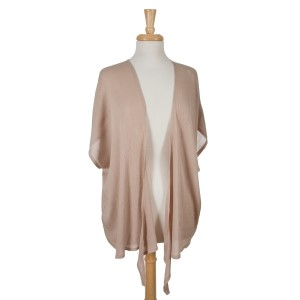 Lightweight taupe, short sleeve overlay with a crinkled fabric. 100% viscose. One size fits most.