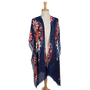 Navy blue short sleeve kimono with a pink and orange floral pattern. 100% polyester. One size fits most.
