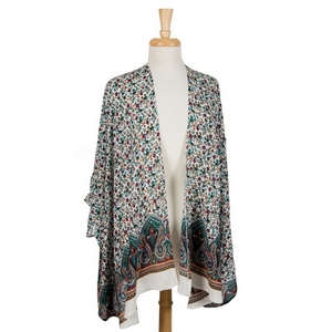 White short sleeve kimono with a floral pattern. 100% viscose. One size fits most.