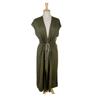Olive green sleeveless, duster length vest with side slits and a tie front. 65% viscose and 35% polyester. One size fits most.