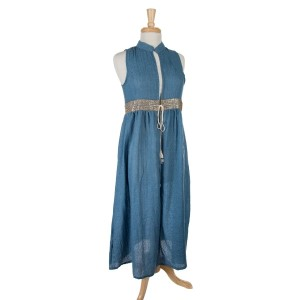 Denim colored sleeveless, duster length vest featuring a glitter waist line and a tie front. 100% cotton. One size.