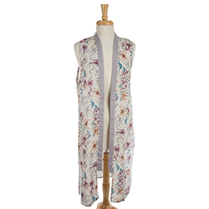 White vest with a muted floral pattern and gray trim around the neckline and down the front. 100% polyester. One size.