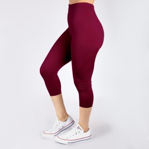 Burgundy capri leggings. Summer weight. Made of a 92% polyester and 8% Spandex blend. One size fits most.
