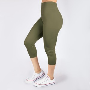 Olive green capri leggings. Summer weight. Made of a 92% polyester and 8% Spandex blend. One size fits most.