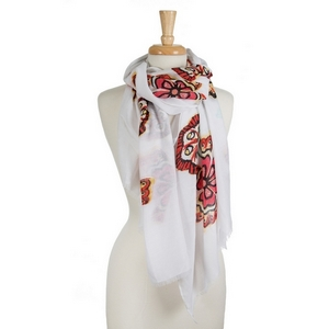 "White open scarf with yellow and red flowers. 100% polyester. Approximately 36"" x 72"" in size."