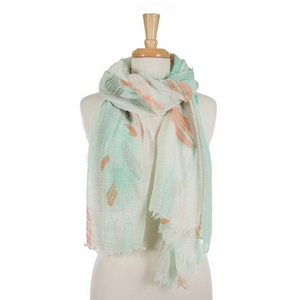 "Lightweight white scarf featuring a mint green and coral feather pattern. 100% viscose. Measures approximately 78"" x 38"" in size."