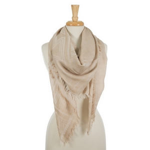 "Lightweight taupe square scarf featuring frayed edges. 100% viscose. Measures approximately 54"" x 54"" in size."