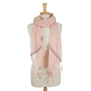 "Blush pink open scarf featuring embroidered details on the ends and tassels on the edges. 35% viscose and 65% polyester. Measures approximately 72"" x 32"" in size."