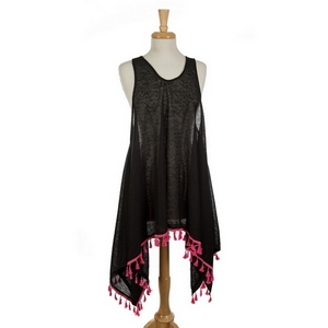 Black flowy tank top featuring hot pink tassels along the bottom edges. Can be worn as a coverup. 100% viscose. One size fits most.