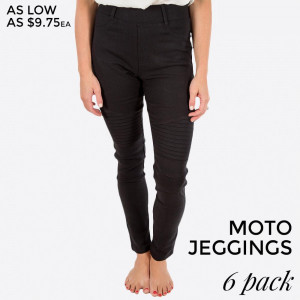Black Moto Jeggings with faux front pockets and real back pockets. 65% polyester, 30% cotton, and 5% spandex. Sold in packs of six - three small/medium and three large/extra large.