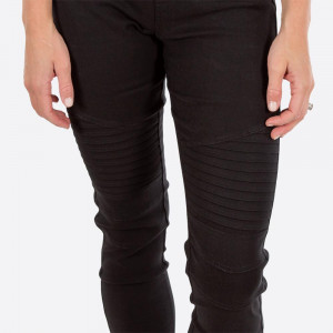 Black moto-jeggings with faux front pockets and real back pockets. 65% polyester, 30% cotton, and 5% spandex. Sold in packs of six - three small/medium and three large/extra large.