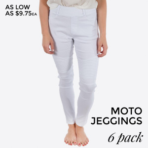 White Moto Jeggings with faux front pockets and real back pockets. 65% polyester, 30% cotton, and 5% spandex. Sold in packs of six - three small/medium and three large/extra large.