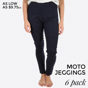 Navy blue moto-jeggings with faux front pockets and real back pockets. 65% polyester, 30% cotton, and 5% spandex. Sold in packs of six - three small/medium and three large/extra large.