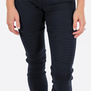Navy Blue Moto Jeggings with faux front pockets and real back pockets. 65% polyester, 30% cotton, and 5% spandex. Sold in packs of six - three small/medium and three large/extra large.