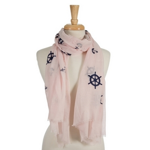 "pink open scarf featuring navy blue embroidered anchors and ship's wheels. 70% polyester and 30% cotton. Measures approximately 32"" x 68"" in size."