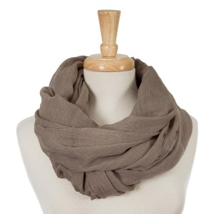 """Taupe, lightweight infinity scarf. 100% cotton. Approximately 35"""" x 42"""" in size."""
